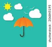 vector illustration of umbrella ... | Shutterstock .eps vector #206845195