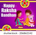 brother and sister in raksha... | Shutterstock .eps vector #206862142