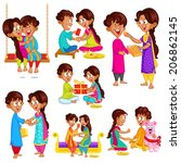 brother and sister in raksha... | Shutterstock .eps vector #206862145