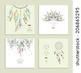 dream  catcher. set of four... | Shutterstock .eps vector #206865295