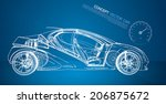 concept car wireframe | Shutterstock .eps vector #206875672