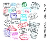 passport stamps  isolated on... | Shutterstock . vector #206875972