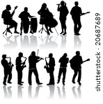 11 musician silhouettes | Shutterstock . vector #20687689