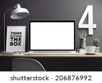 laptop on table | Shutterstock . vector #206876992