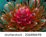 fractal flower red | Shutterstock . vector #206888698
