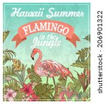 greeting card flamingo in the jungle,summer labels