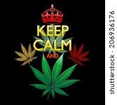 keep calm and marijuana leaf on ... | Shutterstock .eps vector #206936176
