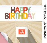 happy birthday vector card...   Shutterstock .eps vector #206938936