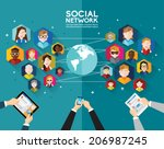social networking people... | Shutterstock .eps vector #206987245