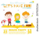 unusual vector invitation card... | Shutterstock .eps vector #207025216