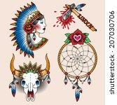 set of oldschool tattoos.... | Shutterstock .eps vector #207030706