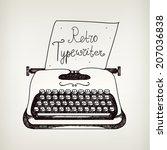 vector hand drawn doodle retro... | Shutterstock .eps vector #207036838