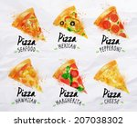 pizza watercolor set hand drawn ... | Shutterstock .eps vector #207038302