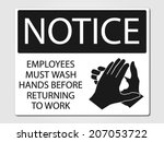 employees must wash vector sign | Shutterstock .eps vector #207053722