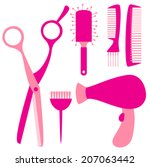 flat hairdressing tools such as ... | Shutterstock .eps vector #207063442