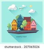 urban landscape. flat design. | Shutterstock .eps vector #207065026