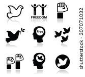 freedom icons set   dove and... | Shutterstock .eps vector #207071032