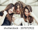 three funny pretty girls make... | Shutterstock . vector #207072922
