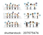 business people using tablet in ... | Shutterstock .eps vector #207075676