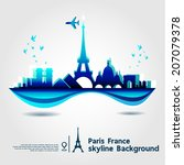 paris  france  skyline... | Shutterstock .eps vector #207079378