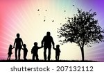 happy family silhouettes | Shutterstock .eps vector #207132112