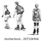 family on roller skates | Shutterstock . vector #207136966