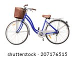 Blue Ladies Bicycle Isolate On...
