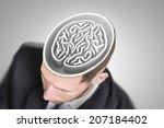 Stock photo brain maze in businessman s head 207184402