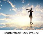 silhouette of woman playing... | Shutterstock . vector #207196672