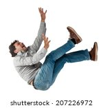Falling Man Isolated On White...