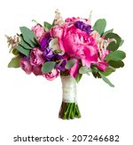 bouquet with rose bush and peony | Shutterstock . vector #207246682