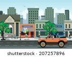 women driving on city streets...   Shutterstock .eps vector #207257896