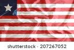 liberia flag closeup of ruffled  | Shutterstock . vector #207267052