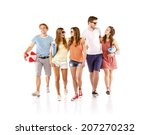 group of happy young teenager... | Shutterstock . vector #207270232
