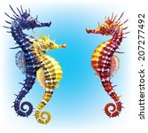 three seahorses on tinted... | Shutterstock .eps vector #207277492