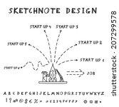 hand drawn doodle start up... | Shutterstock .eps vector #207299578