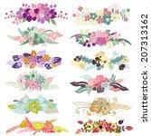 12 elegant floral bouquets ...   Shutterstock .eps vector #207313162