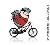 tourist rides a bike  cartoon... | Shutterstock .eps vector #207339376