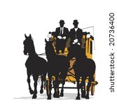 three horse drawn  carriage | Shutterstock .eps vector #20736400