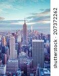 Stock photo new york city skyline under pastel evening sky 207372262