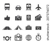 traveling and transport icons | Shutterstock .eps vector #207376072