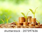 young tree growing on coins...   Shutterstock . vector #207397636