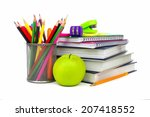 group of school supplies and... | Shutterstock . vector #207418552