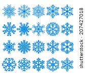 set of blue snowflakes various... | Shutterstock .eps vector #207427018