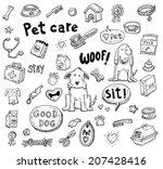 pet icons doodle set  vector...   Shutterstock .eps vector #207428416