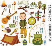 bright camping equipment icon...