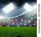 soccer ball on green stadium...   Shutterstock . vector #207445396
