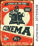 grunge retro cinema poster.... | Shutterstock .eps vector #207445648