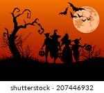 halloween background with... | Shutterstock . vector #207446932