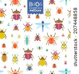 fun colorful bugs seamless... | Shutterstock .eps vector #207448858